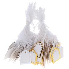 200x Gold Border Label Tie String Ticket Jewelry Merchandise Price Tagsymx