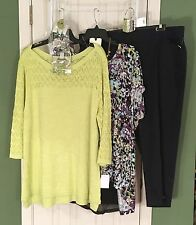 New CJ Banks 2X & Cato 22/24 Knit Tops - Counterparts 18W Capris & Free Jewelry