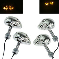 4x Chrome Skull Turn Signal Lights for Yamaha V Road Star Warrior Midnight VT