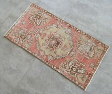 "Vintage Distressed Small Area Rug Hand Knotted Oushak Rugs Yastik -1'5""x2'10'"