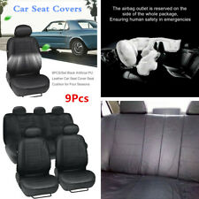9Pcs Full Set Car Seat Cover Front & Rear Black Artificial PU Leather Cushion
