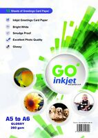 Blank A5 to A6 Glossy Greeting Card Paper for Inkjet Printers 260gsm 10 Sheets