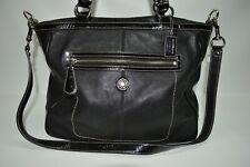 Coach Laura Black Leather Large Zip Tote Shoulder Bag 14887