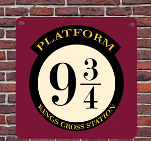 Platform 9 3/4 Harry Potter Metal Plaque Bedroom Wall Sign Gift Present Wizard