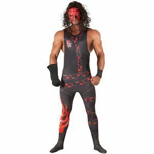 Licenced WWE Kane Wrestler Fancy Dress Costume + Wig Adult Pro Wrestling Outfit