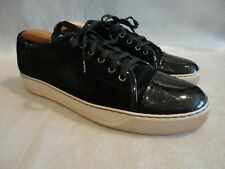 LANVIN Black Suede Patent Leather Cap-Toe Low Top Sneakers Shoes 8 UK Portugal