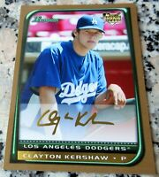 CLAYTON KERSHAW 2008 Bowman GOLD SP #1 Draft Pick Rookie Card RC Dodgers Champs