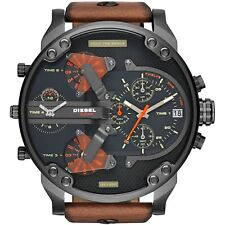 New Diesel DZ7332 Mr.Daddy 2.0 Black Dial Gunmetal Brown Leather Men's Watch