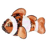 Adventure Planet Sequinimals Plush - CLOWN FISH (Sequin -Orange & Silver) (10 in