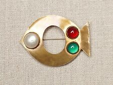 Vintage 1960s YSL Yves Saint Laurent Brooch Gold Tone Fish Mabe Red Green Stones