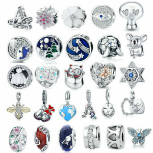 Authentic Silver CZ Charm Beads Fit sterling 925 Necklace & Bracelet for Women