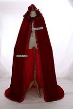 cape-02 ROJO RED oscuro terciopelo esterado Capa VESTIMENTA Edad Media GOTHIC