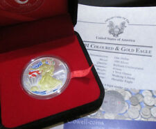 2001 AMERICAN .999 SILVER EAGLE GUILED AND COLOURIZED BOXED WITH COA
