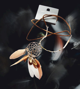 Dream Catcher & Feather Pendant Bead Mix Long Line Leather Necklace by Evans