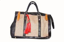 Unique Ladies Black/ Brown Beige Ex High Street Tassel Straw Retro Hand Bag(S238