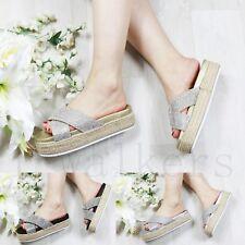 Ladies Womens Slip On Diamante Flatform Sliders Slippers Mules Summer Shoes Size