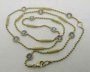 """LAGOS 18K YELLOW GOLD SAPPHIRE STATION NECKLACE 18"""" LONG - RARE - LB3279"""