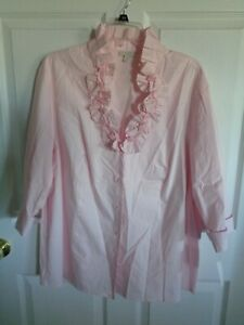 NWT Talbots Woman's - Pink - V-Neck - Ruffle Blouse - Button Down - Size 2X