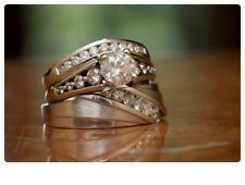 14K White Gold Over 2.00 Ct Diamond Engagement Ring His & Hers Wedding Trio Set