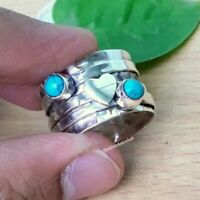Wide Band 925 Silver MOONSTONE Spinner Spin Ring Sz L,Q R900~Silverwave*uk