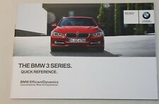 GENUINE BMW 3 SERIES F30 F31 2011-2015 QUICK REFERENCE HANDBOOK GUIDE MANUAL