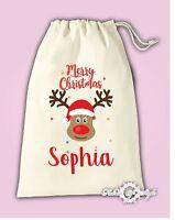 Personalised Christmas Reindeer Stocking Gift Present  Santa Sack Bag