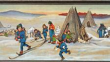 LAPLAND MOVIE painting vtg sami swedish classic scandinavian snow ski cabin art