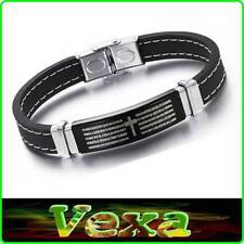 316L Black Silicone Bracelet Prayer Our Father in Latin Bible Wristband UK BR51