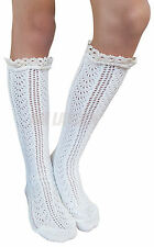 AM Landen Thick Knee-Highs Cotton Boutique Lace Trim Socks (KH-Boot-Cream-B)