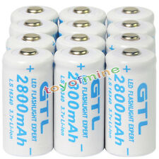 12x 3.7V CR123A 123A CR123 16340 2800mAh GTL Rechargeable Battery Cell White