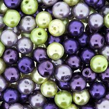 Glass Pearls Round Beads 8mm Lavender Garden Mix 100pcs (gprd08m-lvd)