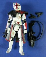 2005 HASBRO LFL BATTLE WORN CLONE COMMANDER 3.75 ACTION FIGURE RED w GEAR ~ RARE