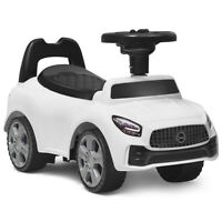 Foot-to-Floor Kids Ride-On Push Car Toddler Sliding Car w/ Horn and Music White