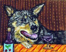 Australian Cattle Dog wine art print animals impressionism artist 11x14