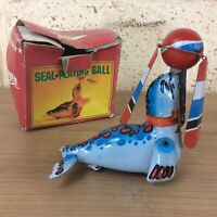 Vintage Wind Up Tin Toy Seal Playing Ball, Boxed, Working Order