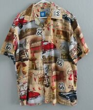 Men's GM BY David Carey Hawaiian Shirt Sz L S/Sleeves Route 66 Cars&Map Printed.