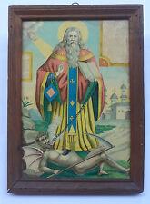 Saint CHARALAMBUS Antique RUSSIAN Orthodox Print Icon on Wood Framed + Glass