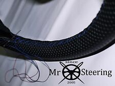 FITS NISSAN BLUEBIRD GS PERFORATED LEATHER STEERING WHEEL COVER BLUE DOUBLE STCH