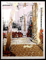 "Nanci Blair Closson ""Tlaquepaque"" Signed Numbered Lithograph Art Mexico patio"