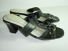 WOMENS BLACK SILVER AIR STEP SLIDES SANDALS CAREER COMFORT HEELS SHOES SIZE 8 M