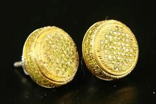 Mens/Ladies Full Canary 3D Diamond Stud Earrings 1.0 Ct