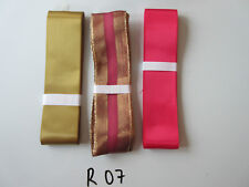 R07 Job Lot 3 Ribbons, Gold Colour & Pinky Red