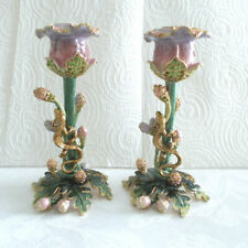 "2 Enamel & Crystal Flower Candle Holders With Swarovski Crystals 5 3/4"" Tall"