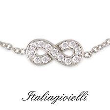 Braccialetto Infinito Argento 925 rod Oro Bianco con Brillanti / Gioielli Donna