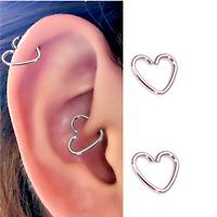 4 PCS 16G STEEL HEART EAR CARTILAGE EARRINGS TRAGUS HELIX CLIP HOOPS NIPPLERINGS