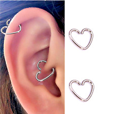 2 PCS 18G HEART EAR CARTILAGE EARRING STEEL TRAGUS HELIX CLIP HOOP CAPTIVE RING