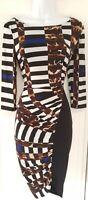 Womens Joseph Ribkoff Black White Stripe Animal Ruched Stretch Wiggle Dress 6.