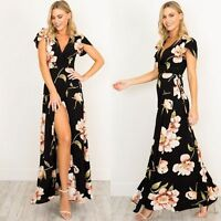 Womens V Neck Floral Short Sleeve Long Maxi Party Evening Cocktail Summer Dress
