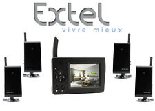 KIT 4 VIDEOCAMERE + MONITOR VIDEOSORVEGLIANZA WIRELESS COMPLETO EXTEL CON AUDIO