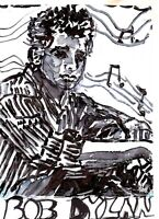 BOB DYLAN by RUTH  FREEMAN MIXED MEDIA MEASURES  5  X 7 WITH BACKBOARD